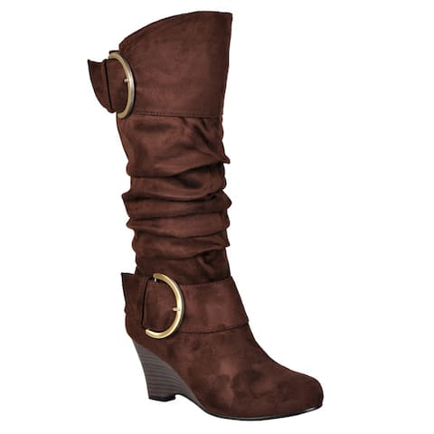 Journee Collection Womens Regular and Wide-Calf Irene-1 Buckle Slouch Wedge Knee-High Boots
