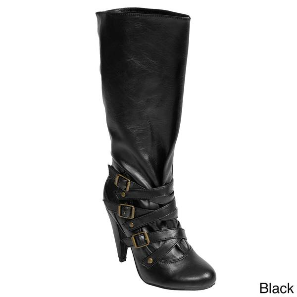 Journee Collection Women's Buckle Accent Almond Toe Boots