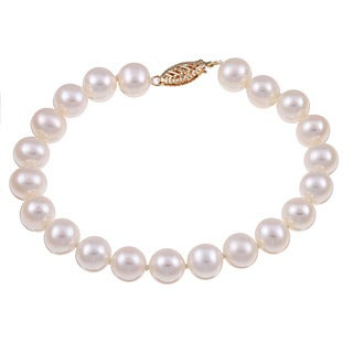 DaVonna 14k Yellow Gold White Cultured Pearl Bracelet (7.5-8 mm)
