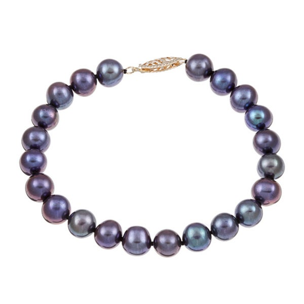 DaVonna 14k Yellow Gold Black Cultured Pearl Bracelet (7.5-8 mm)