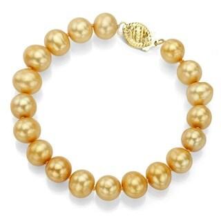 DaVonna 14k Gold Golden FW Pearl 8-inch Bracelet (7.5-8 mm)