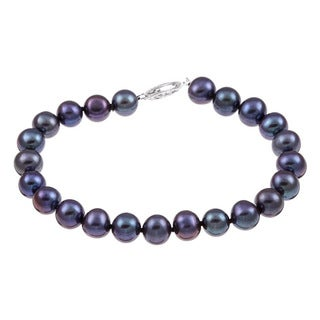 DaVonna Sterling Silver Black Cultured Pearl Bracelet (7.5-8 mm)