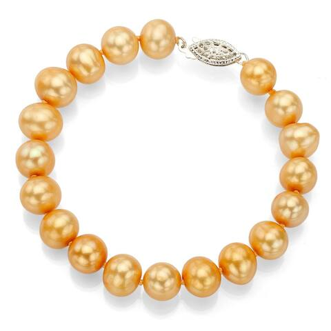 DaVonna Silver Gold FW Pearl 7.25-inch Bracelet (7-8 mm)