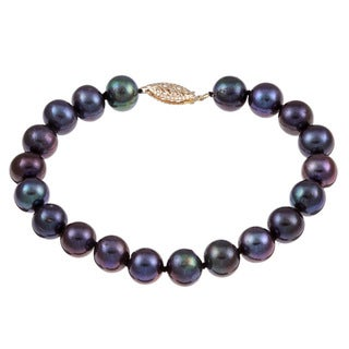 DaVonna 14k Yellow Gold Black Cultured Pearl Bracelet (8-9mm)
