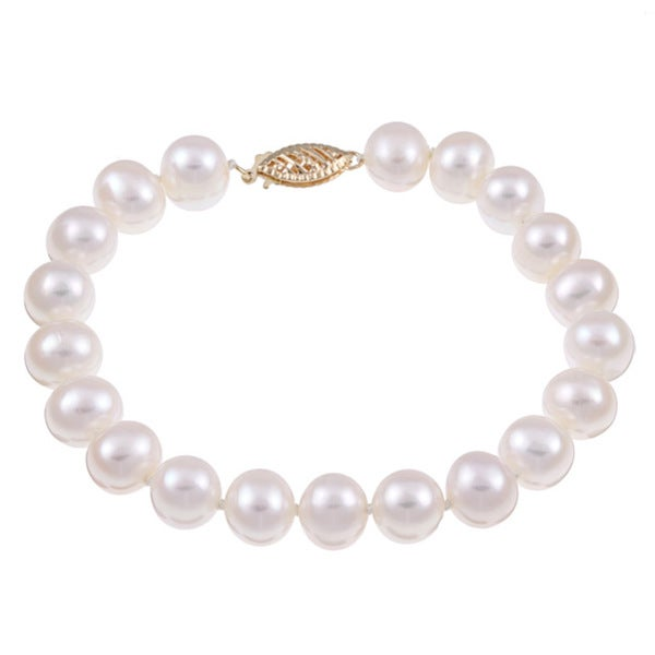 DaVonna 14k Yellow Gold White Cultured Pearl Bracelet (8-9 mm)