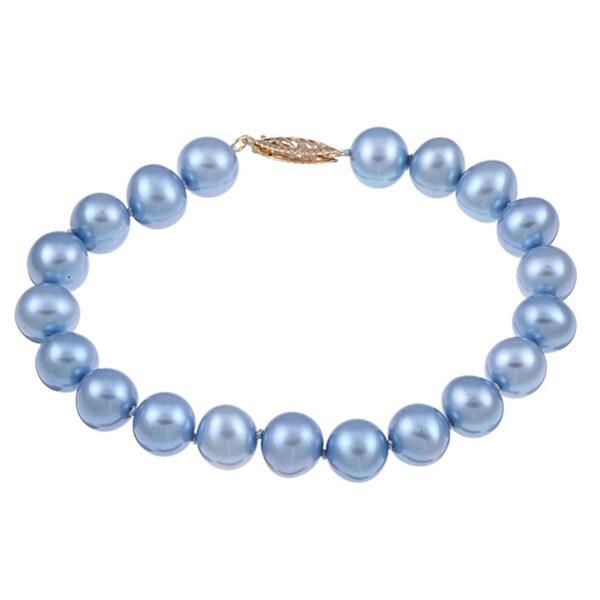 DaVonna 14k Yellow Gold Blue Cultured Pearl Bracelet (8-9 mm)