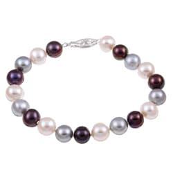 DaVonna Silver Dark-multi FW Pearl 7.25-inch Bracelet (8-9 mm)