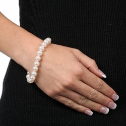DaVonna Sterling Silver White Cultured Pearl Bracelet (8-9 mm) - Thumbnail 2
