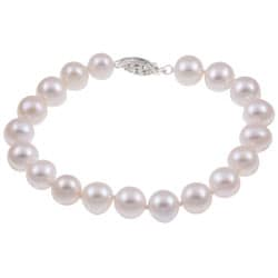 DaVonna Sterling Silver White Cultured Pearl Bracelet (8-9 mm)