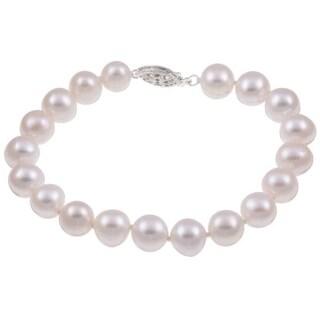 DaVonna Sterling Silver White Cultured Pearl Bracelet (8-9 mm)