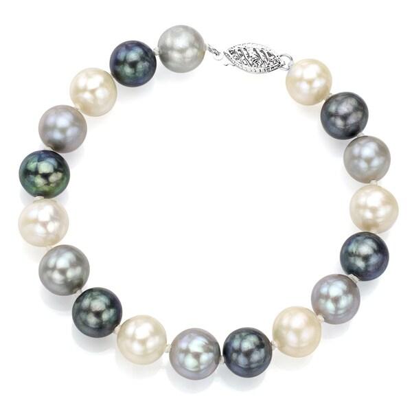 DaVonna Sterling Silver Dark-multi Cultured Pearl Bracelet (8-9 mm)