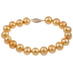 DaVonna 14k Gold Golden FW Pearl 7.25-inch Bracelet (9-10 mm)