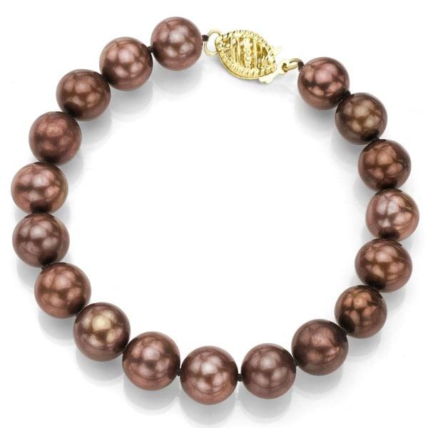 DaVonna 14k Gold Brown FW Pearl 7.25-inch Bracelet (9-10 mm)