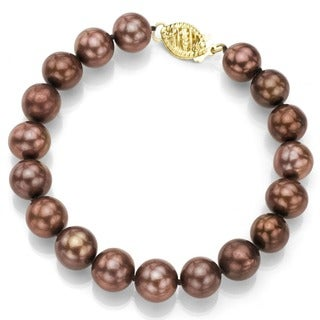 DaVonna 14k Gold Brown FW Pearl 7.25-inch Bracelet (9-10 mm)
