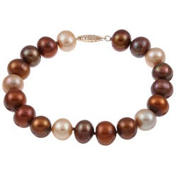 DaVonna 14k Gold Multi-colored FW Pearl 7.25-inch Bracelet (9-10 mm)