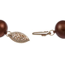 DaVonna 14k Gold Chococlate FW Pearl 8-inch Bracelet (9-10 mm) - Thumbnail 1