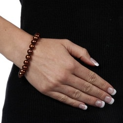 DaVonna 14k Gold Chococlate FW Pearl 8-inch Bracelet (9-10 mm) - Thumbnail 2