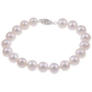 DaVonna Sterling Silver White Freshwater Pearl Bracelet (9-10mm)
