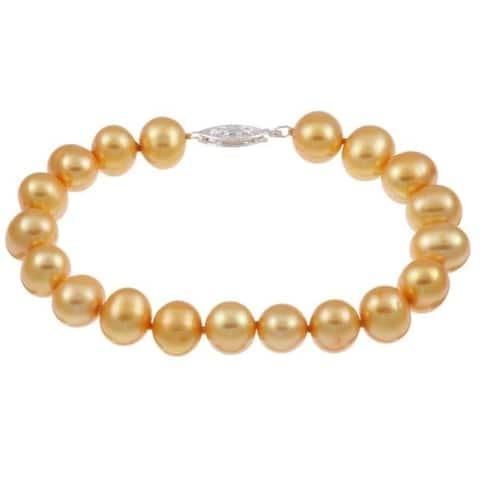 DaVonna Silver Golden FW Pearl Bracelet (9-10mm)
