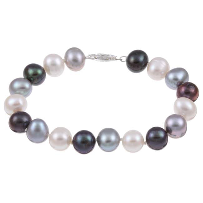 DaVonna Silver Dark-multi FW Pearl Bracelet (9-10mm)