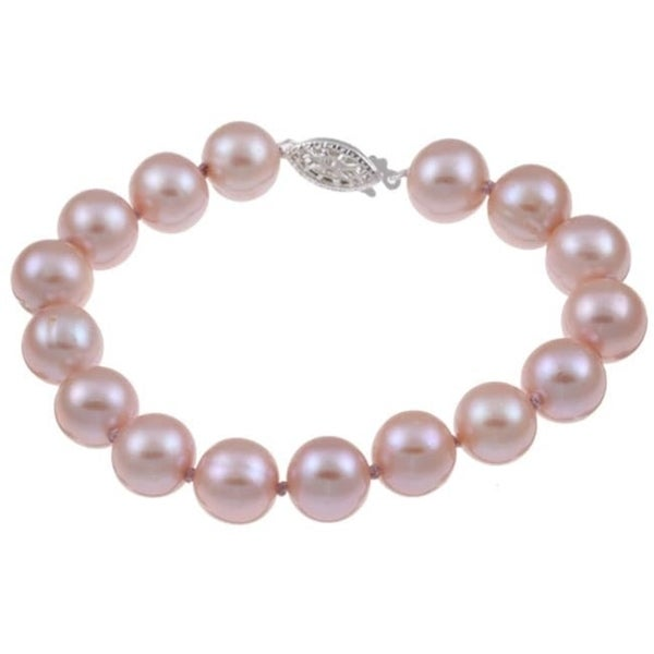 DaVonna Silver Pink FW Pearl Bracelet (9-10mm)