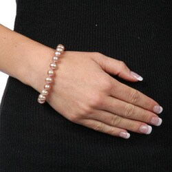 DaVonna Silver Pink FW Pearl Bracelet (9-10mm) - Thumbnail 2