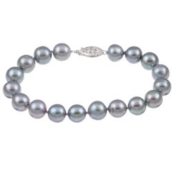 DaVonna Silver Grey FW Pearl Bracelet (9-10mm)
