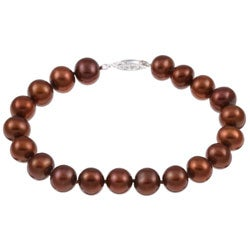 DaVonna Silver Chocolate FW Pearl Bracelet (9-10mm)