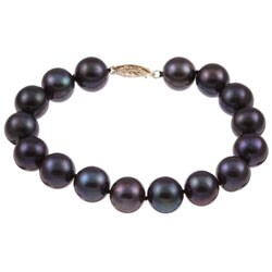 DaVonna 14k Gold Black FW Pearl 7.25-inch Bracelet (10-11 mm)