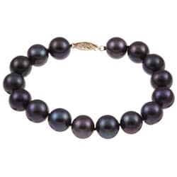 DaVonna 14k Gold Black FW Pearl 8-inch Bracelet (10-11 mm)