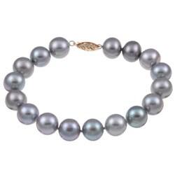 DaVonna 14k Gold Grey FW Pearl 8-inch Bracelet (10-11 mm)