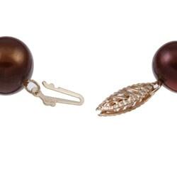 DaVonna 14k Gold Chocolate FW Pearl 8-inch Bracelet (10-11 mm)