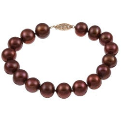 DaVonna 14k Gold Chocolate FW Pearl 8-inch Bracelet (10-11 mm)