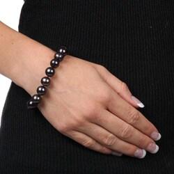 DaVonna Silver Black FW Pearl 7.25-inch Bracelet (10-11 mm) - Thumbnail 2