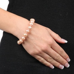 DaVonna Silver Pink FW Pearl 7.25-inch Bracelet (10-11 mm)