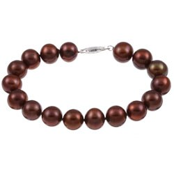 DaVonna Silver Chocolate FW Pearl 7.25-inch Bracelet (10-11 mm)
