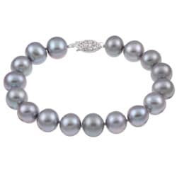 DaVonna Silver Grey FW Pearl 8-inch Bracelet (10-11 mm)