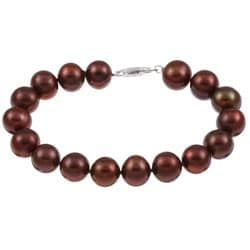 DaVonna Silver Chocolate FW Pearl Bracelet (10-11mm)