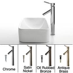KRAUS Soft Rectangular Ceramic Vessel Sink in White with Sheven Faucet in Satin Nickel