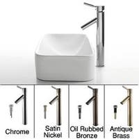 KRAUS Soft Rectangular Ceramic Vessel Sink in White with Sheven Faucet
