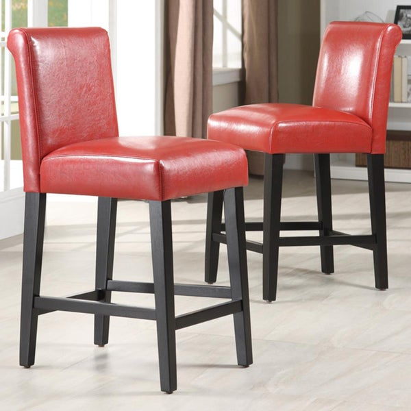 Bennett 24 Inches Red Faux Leather High Back Bar Stools Set Of 2 By