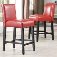 Shop Cosmopolitan Burnt Red Leather Counter Stools Set Of