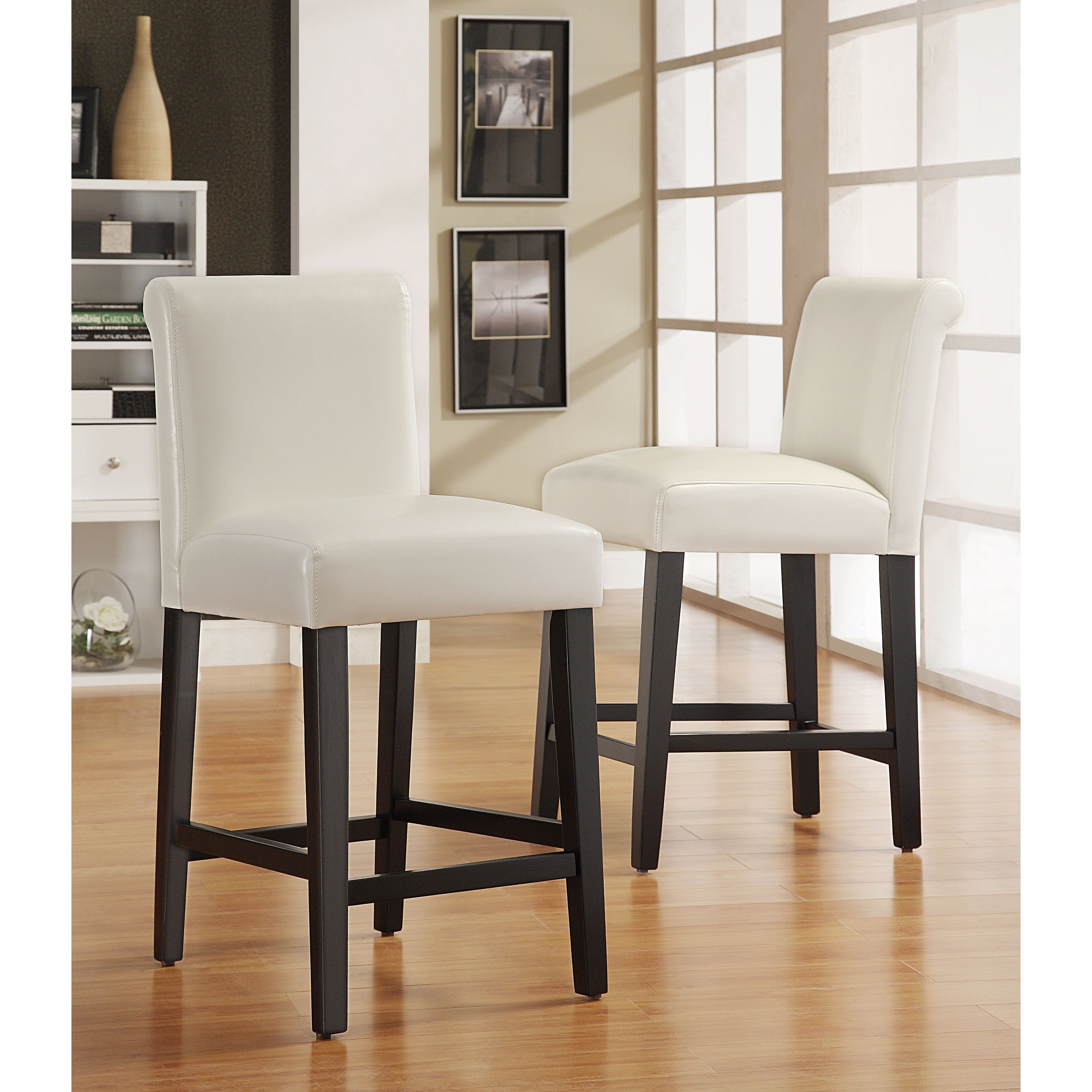 Pleasing Bennett White Faux Leather 24 Inch Counter Height High Back Stools Set Of 2 By Inspire Q Bold Gamerscity Chair Design For Home Gamerscityorg