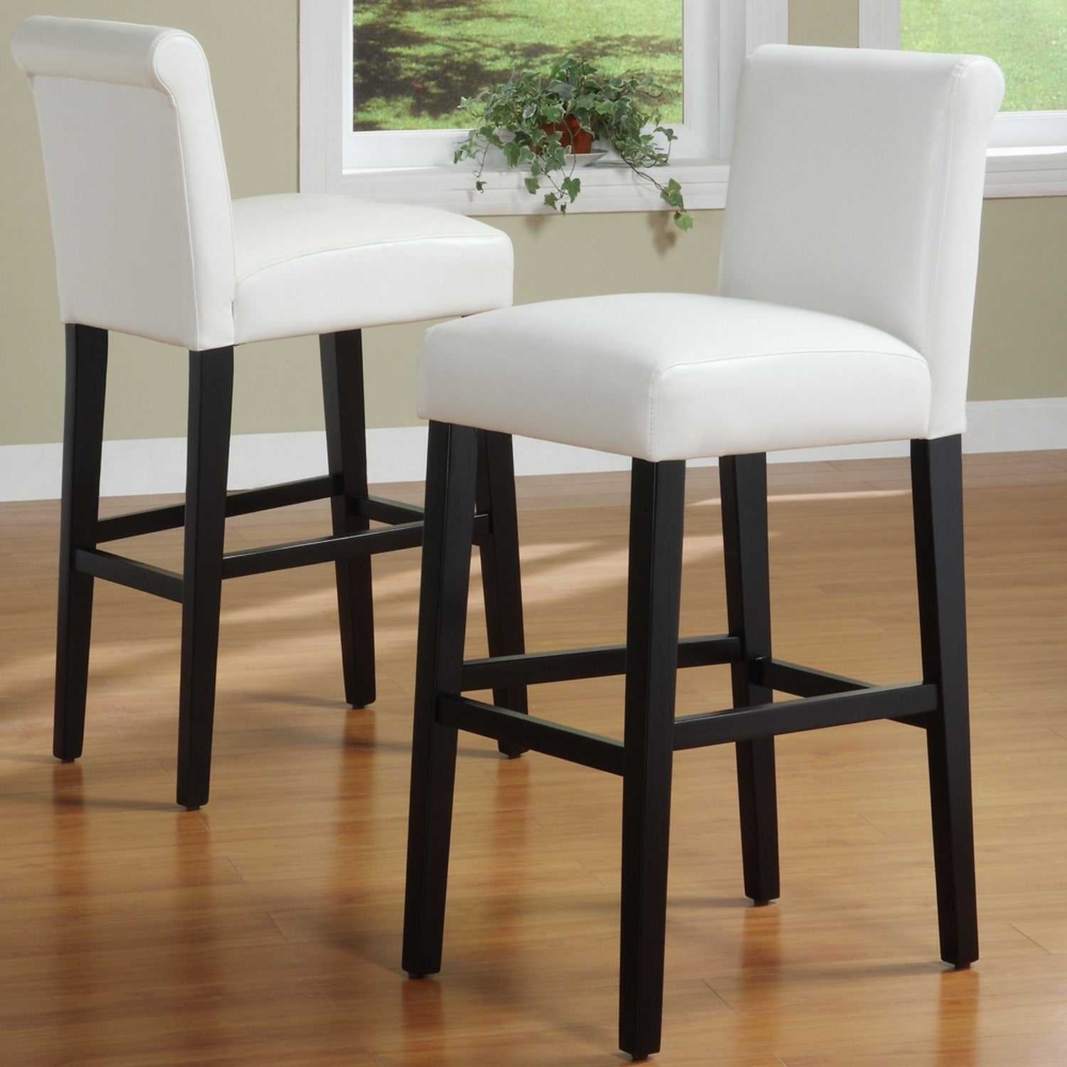Surprising Bennett White Faux Leather 29 Inch High Back Bar Stools Set Of 2 By Inspire Q Bold Theyellowbook Wood Chair Design Ideas Theyellowbookinfo