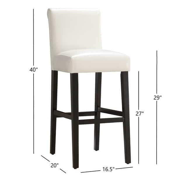 Magnificent Shop Bennett White Faux Leather 29 Inch High Back Bar Stools Dailytribune Chair Design For Home Dailytribuneorg