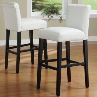 Bennett White Faux Leather 29 Inch High Back Bar Stools Set Of 2