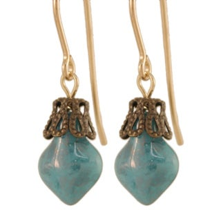 14k Gold Fill 'Anything but Antiquated' Glass Earrings