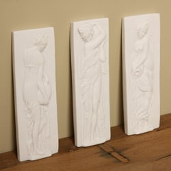 White Bonded Marble Water Nymphs Decorative Wall Reliefs (Set of 3)