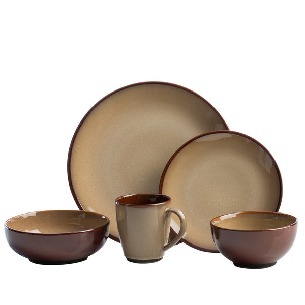 Shop Sango 40 Piece Nova Brown Stoneware Dinnerware Set