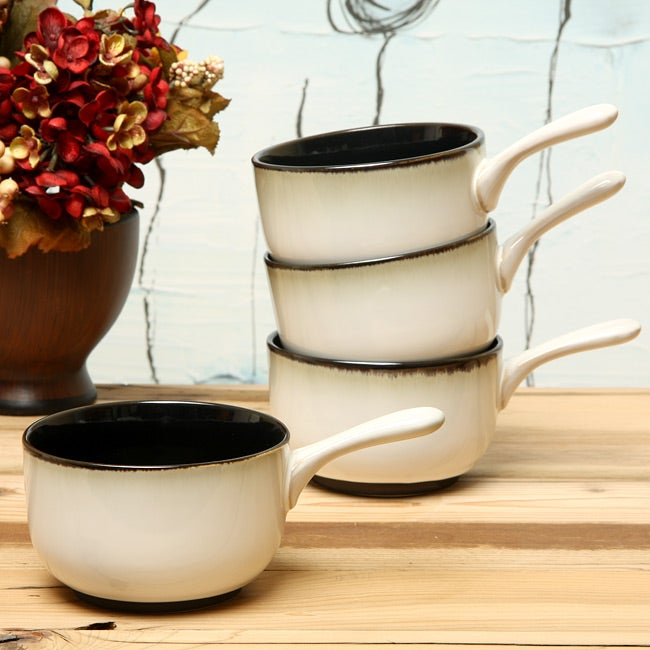 Sango Nova Black 4-piece Onion Soup Bowl Set